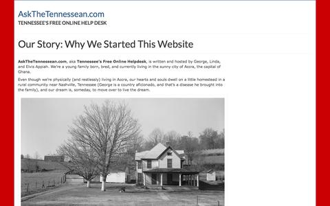 Screenshot of About Page askthetennessean.com - Our Story: Why We Started AskTheTennessean.com - captured Feb. 6, 2016