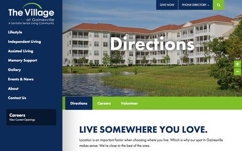 Screenshot of Maps & Directions Page thevillageonline.com - Directions   The Village at Gainesville - captured Nov. 30, 2016