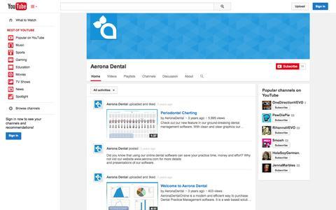 Screenshot of YouTube Page youtube.com - Aerona Dental  - YouTube - captured Oct. 23, 2014