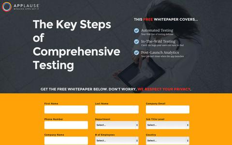 Screenshot of Landing Page applause.com - The Key Steps of Comprehensive Testing - Applause: 360° App Quality - captured Oct. 27, 2014
