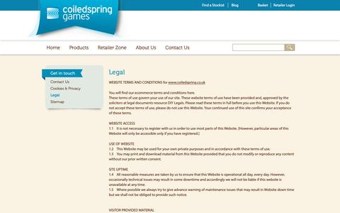 Screenshot of Terms Page coiledspring.co.uk - Legal | Coiledspring Games - captured Sept. 28, 2018