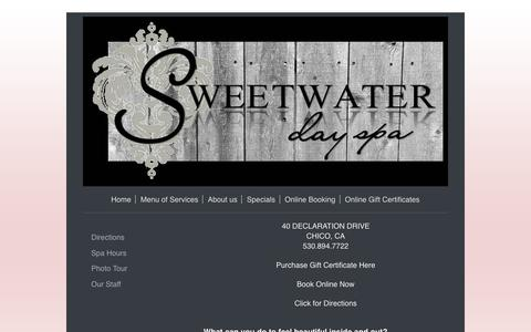 Screenshot of About Page sweetwaterchico.com - Sweetwater Day Spa - About us - captured Oct. 24, 2017