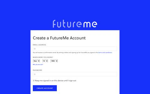 Screenshot of Signup Page futureme.org - FutureMe: Letters to the Future - captured Nov. 15, 2017