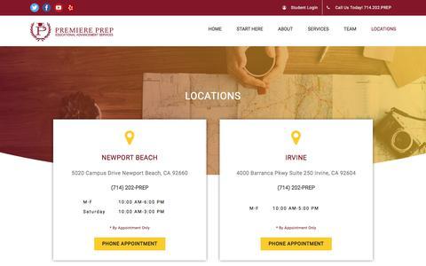 Screenshot of Locations Page premiereprep.net - Locations | Premiere Prep - captured July 21, 2018