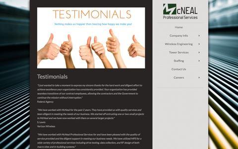Screenshot of Testimonials Page mcnealpro.com - McNeal Professional Services - Testimonials - captured Feb. 12, 2016
