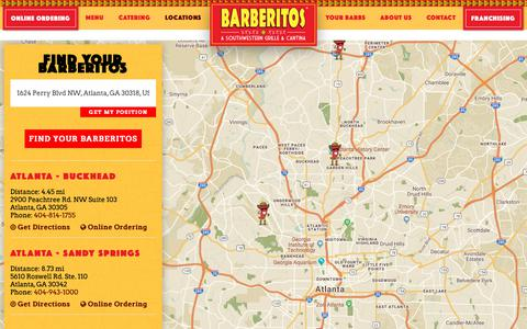 Screenshot of Locations Page barberitos.com - Find a Barberitos Near You - captured Oct. 5, 2018
