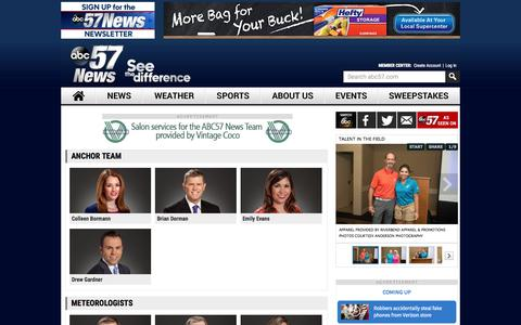 Screenshot of Team Page abc57.com - Meet our talent - ABC57 News - See the Difference Michiana - captured Sept. 22, 2015