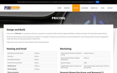 Screenshot of Pricing Page pimdesign.com - Pricing - PimDesign - captured July 4, 2015