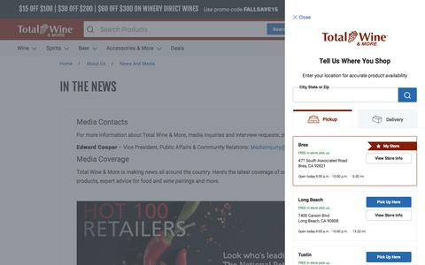 Screenshot of Press Page totalwine.com - News and Media | Total Wine & More - captured Oct. 19, 2019