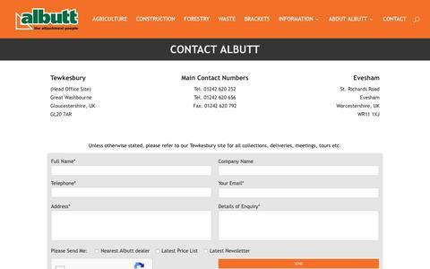 Screenshot of Contact Page albutt.com - Contact Albutt | Albutt attachments materials handling - captured Oct. 7, 2017