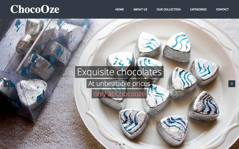 Screenshot of Home Page chocooze.com - ChocoOze - Handcrafted Chocolates By Komal Spall | New Delhi & NCR - captured Sept. 29, 2014
