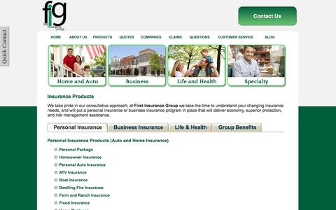 Screenshot of Products Page figprotects.com - Insurance Products - First Insurance Group - Bloomington, Indiana 47404 - captured Nov. 25, 2016