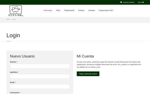 Screenshot of Login Page fescinal.es - Cine de Verano Madrid || Fescinal - captured July 1, 2017