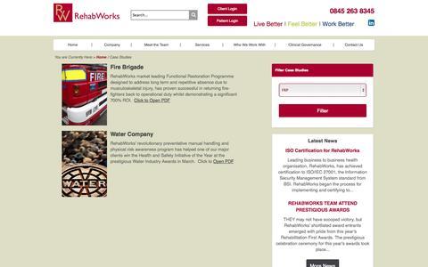 Screenshot of Case Studies Page rehabworks.co.uk - Case Studies - RehabWorks - captured Oct. 7, 2014