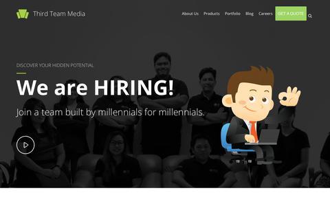 Screenshot of Jobs Page thirdteam.org - Careers - Third Team Media - captured Sept. 22, 2018