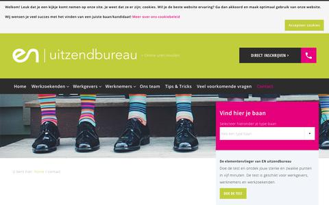 Screenshot of Contact Page enuitzendbureau.nl - Contact opnemen met EN Uitzendbureau Hoogeveen - captured July 19, 2018