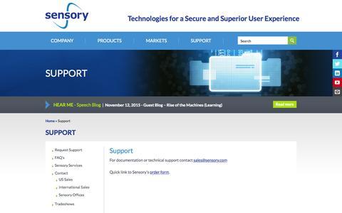 Screenshot of Support Page sensory.com - Support | Sensory - captured Nov. 18, 2015