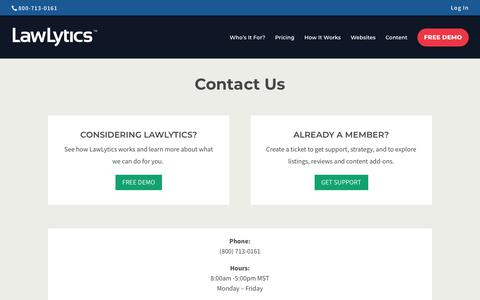 Screenshot of Contact Page lawlytics.com - Contact Us   LawLytics - captured July 21, 2019