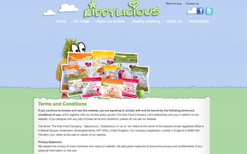 Screenshot of Terms Page kiddylicious.co.uk - Terms & Conditions | Kiddylicious - captured Oct. 6, 2014