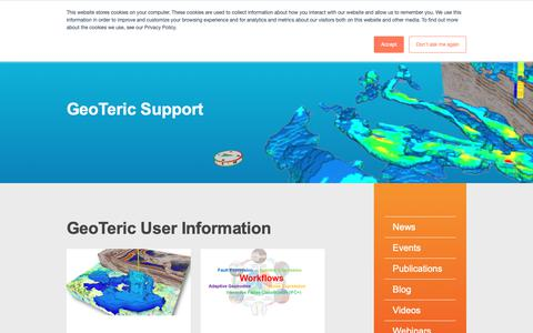 Screenshot of Support Page geoteric.com - SupportGuide - captured Oct. 11, 2018