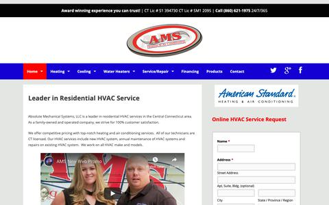 Screenshot of Home Page absolutemech.com - Absolute Mechanical Systems LLC – #1 HVAC Company in Connecticut - captured Dec. 17, 2018