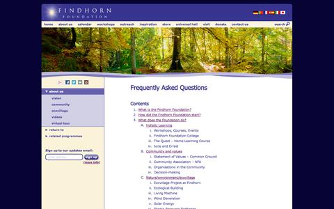 Screenshot of FAQ Page findhorn.org - Findhorn Foundation   Frequently Asked Questions - captured Sept. 18, 2014