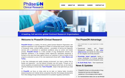 Screenshot of Home Page phaseon-clinical.com - PhaseON Clinical Research PVT. LTD. - captured Oct. 2, 2014
