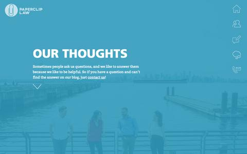 Screenshot of Blog papercliplaw.com - Our Thoughts - captured Sept. 26, 2018