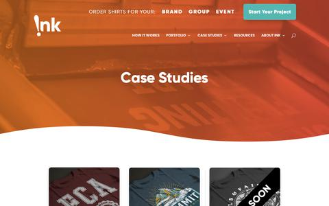 Screenshot of Case Studies Page inkcustomtees.com - Case Studies - Ink Custom Tees - captured Nov. 30, 2019