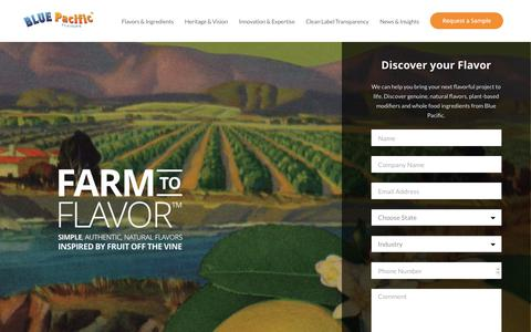 Screenshot of Home Page bluepacificflavors.com - Blue Pacific Flavors - captured Oct. 10, 2017