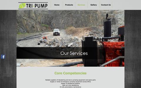 Screenshot of Services Page tripump.com - Services - captured Nov. 9, 2017