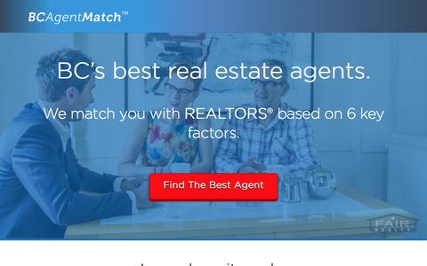 Screenshot of Home Page bcagentmatch.com - BC Agent Match - Get connected with BC's best agents - BC Agent Match - captured Sept. 10, 2015