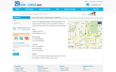 Screenshot of Contact Page chn-cisco.com - Contact Us - Sell and Buy New Used Cisco Switches, Routers, Firewalls, Modules and IP phones. - captured Oct. 26, 2014