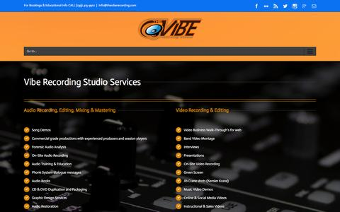 Screenshot of Services Page theviberecording.com - The Vibe Recording Studio Audio and Video Services - captured Jan. 11, 2016