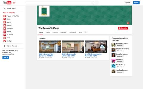 Screenshot of YouTube Page youtube.com - TheDenver100Page  - YouTube - captured Oct. 29, 2014