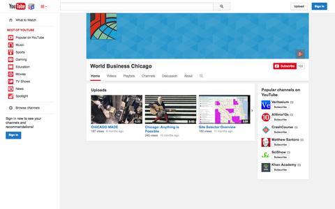 Screenshot of YouTube Page youtube.com - World Business Chicago  - YouTube - captured Nov. 5, 2014