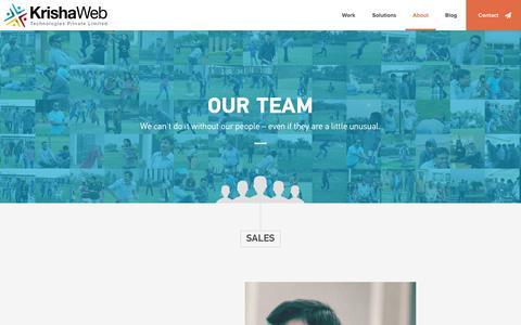 Screenshot of Team Page krishaweb.com - Our Team - captured Sept. 19, 2014
