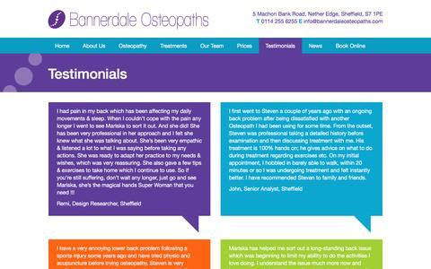 Screenshot of Testimonials Page bannerdaleosteopaths.com - Testimonials Archive - Bannerdale Osteopaths - captured July 28, 2016