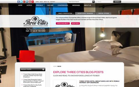 Screenshot of Blog threecities.co.za - Blog | Durban Hotels | Cape Town Hotels | Three Cities - captured Feb. 11, 2016