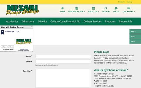 Screenshot of Contact Page mesabirange.edu - Ask Us   Mesabi Range College - captured Oct. 17, 2018