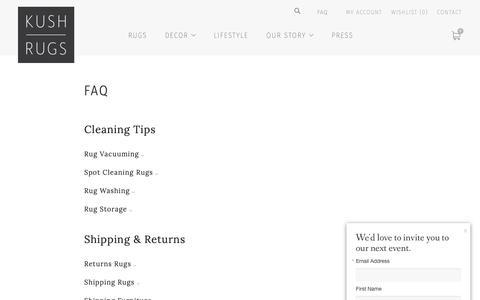 Screenshot of FAQ Page kushrugs.com - FAQ – Kush Rugs - captured Oct. 16, 2018