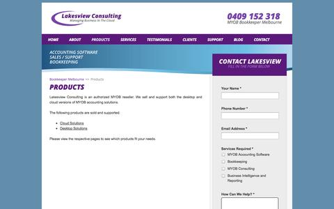 Screenshot of Products Page lakesview.com.au - Lakesview Products - captured Oct. 1, 2014