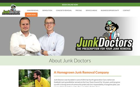 Screenshot of About Page junkdrs.com - About Junk Doctors | Junk Removal Services | Junkdrs.com - captured March 23, 2019