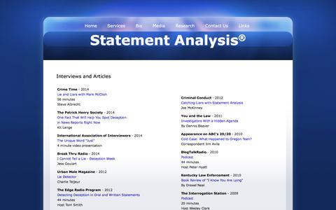 Screenshot of Press Page statementanalysis.com - Statement Analysis Interviews and Articles - Mark McClish - captured Feb. 5, 2016