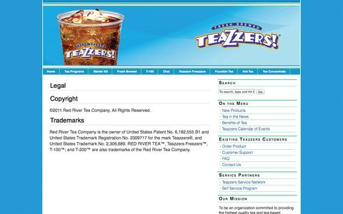 Screenshot of Terms Page teazzers.com - Legal / Red River Tea Company / TEAZZERS - captured Oct. 26, 2014
