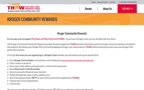 Screenshot of Signup Page thawfund.org - Kroger Community Rewards - The Heat and Warmth Fund - captured Nov. 30, 2016