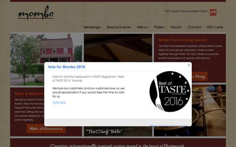 Screenshot of Home Page momborestaurant.com - Home | Mombo Restaurant - captured Feb. 16, 2016