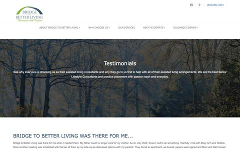 Screenshot of Testimonials Page bridgetobetterliving.com - Testimonials | Assisted Living Consultants | Choose Us - captured Nov. 23, 2016