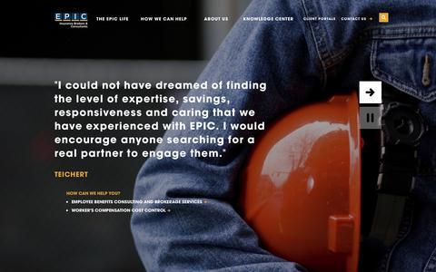 Screenshot of Home Page epicbrokers.com - HOME- EPIC INSURANCE - captured Dec. 2, 2015