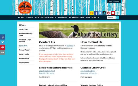 Screenshot of Contact Page mnlottery.com - MN Lottery - Contact Us - captured Oct. 26, 2014
